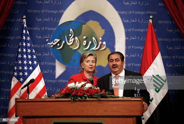 US Secretary of State Hillary Rodham Clinton and Iraqi Foreign Minister Hoshyar Zebari speaks to the media at a press conference on April 25 2009 in...