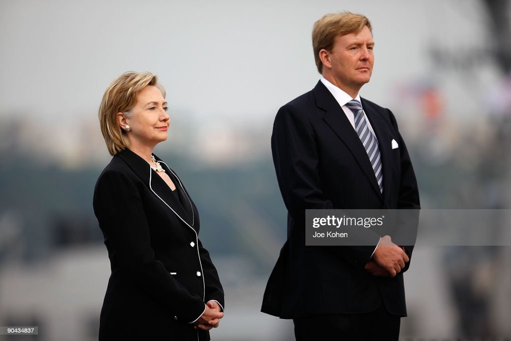 U.S. Secretary of State Hillary Rodham Clinton and Prince Willem-Alexander of the Netherlands attend the kickoffs NY400 week at the USS Intrepid on September 8, 2009 in New York City.