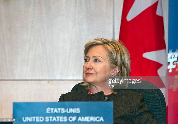 US Secretary of State Hillary Rodham Clinton attends the Haiti Ministerial preparatory conference at the International Civil Aviation Organization in...