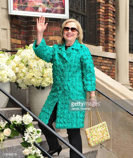 Secretary of State Hillary Rodham Clinton attends the wedding of Andrea Catsimatidis and Christopher Nixon Cox at the Greek Orthodox Cathedral Of The...