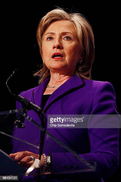 S Secretary of State Hillary Rodham Clinton delivers remarks before signing an agreement on eliminating excess weapongrade plutonium from her...