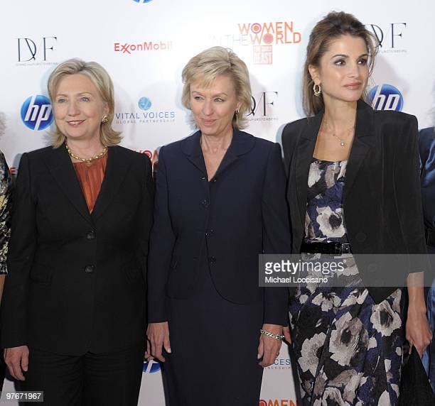 US Secretary of State Hillary Rodham Clinton event cohost and founder and editorinchief of The Daily Beast Tina Brown and Queen Rania of Jordan...