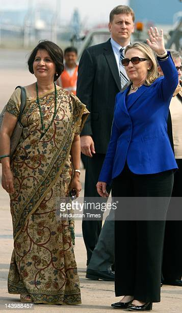 S Secretary of State Hillary Rodham Clinton is received by Indian Ambassador to the US Nirupama Rao her arrival at AFS Palam on May 7 2012 in New...