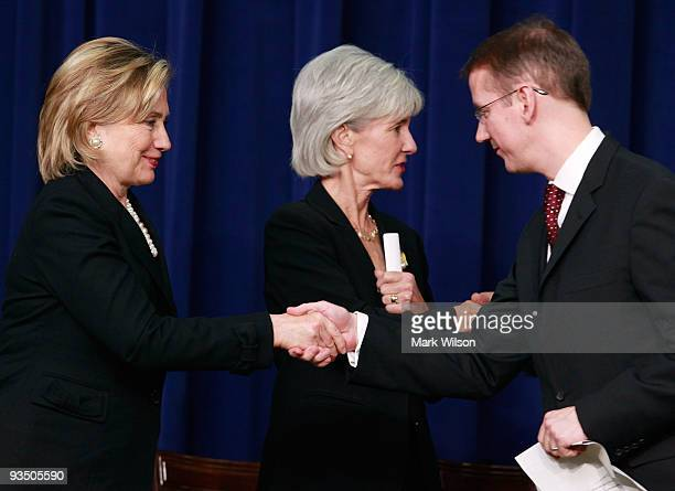 Secretary of State Hillary Rodham Clinton Secretary of Health and Human Services Kathleen Sebelius and Jeffrey Crowley Director of the Office of...