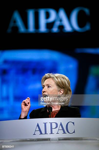 Secretary of State Hillary Rodham Clinton speaks during the 2010 American Israel Public Affairs Committee conference March 22 2010 in Washington DC...