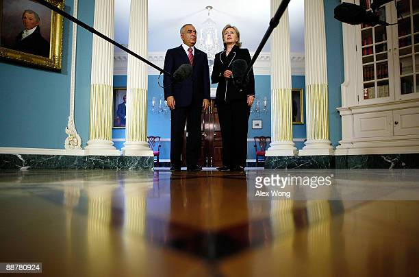 S Secretary of State Hillary Rodham Clinton welcomes Prime Minister and Minister of Finance of the Palestinian Authority Salam Fayyad July 1 2009 at...