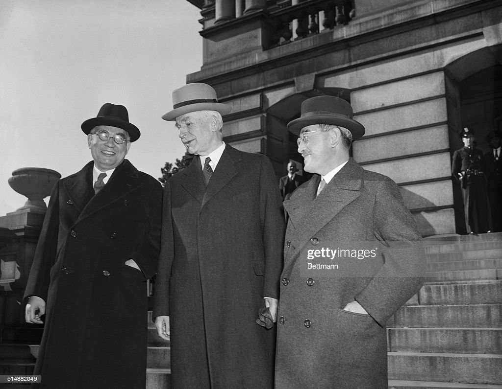 Secretary of State Hull, Japanese special envoy Kurusu and Japanese Ambassador Nomura leave a meeting with president Roosevelt in which they discussed a peaceful settlement to differences in the Pacific