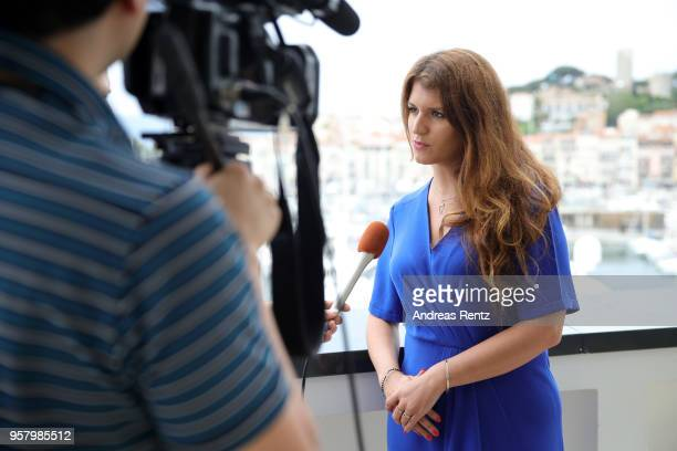 Secretary of State in charge of Equality between Women and Men in France Marlene Schiappa speaks to the media during the Swedish Film Institute...