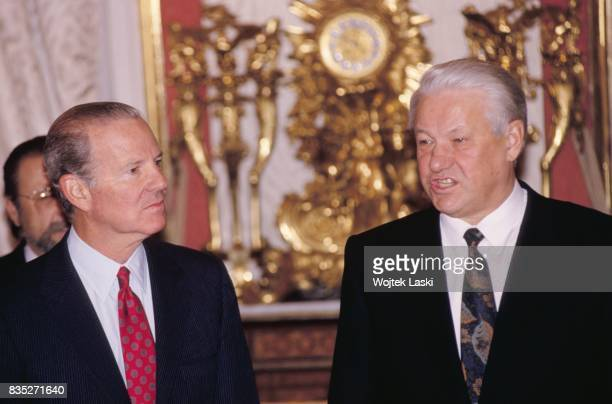 Secretary of State James 'Jim' Baker and Russian President Boris Yeltsin during a meeting at Moscow Kremlin Russia on 16th December 1991