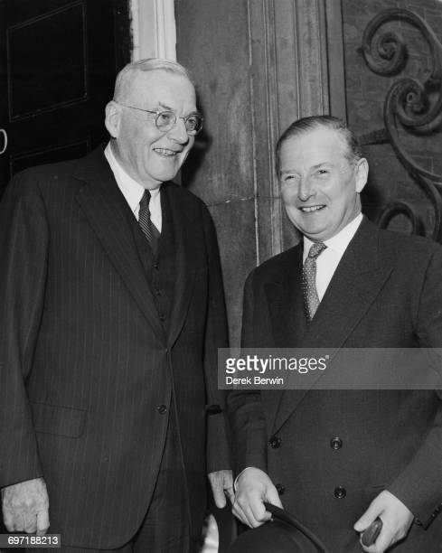 US Secretary of State John Foster Dulles and British Foreign Secretary Selwyn Lloyd arriving at at 10 Downing Street London after 'Big Three' talks...