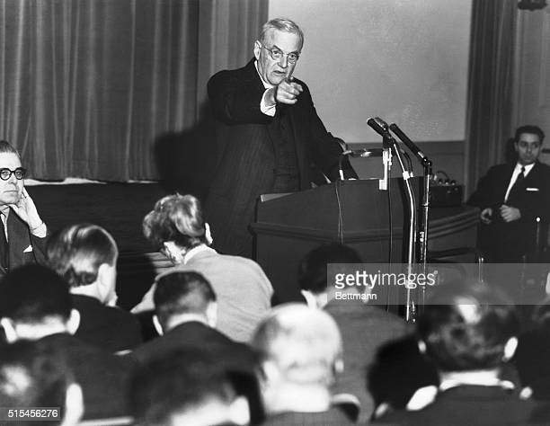 Secretary of State John Foster Dulles seems to be pointing his finger directly at the photographer during his news conference today at which he...