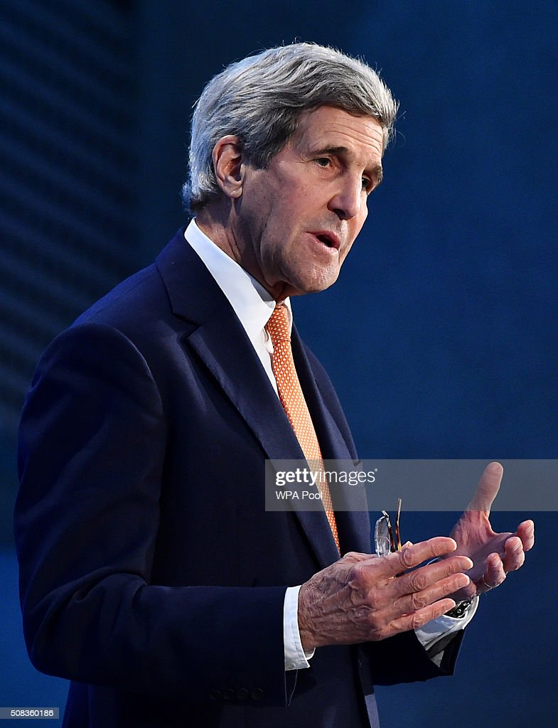 US Secretary of State John Kerry addresses delegates during the first 'Thermatic Pledging Session' at the 'Supporting Syria Conference' at The Queen Elizabeth II Conference Centre on February 4, 2016 in London, England. World leaders including British Prime Minister David Cameron and German Chancellor Angela Merkel will gather for the 4th annual donor conference in an attempt to raise £6.2bn GBP to those affected by the war in Syria.
