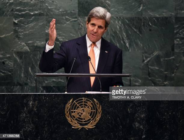 US Secretary of State John Kerry addresses the 2015 Review Conference of the Parties to the Treaty on the NonProliferation of Nuclear Weapons at the...