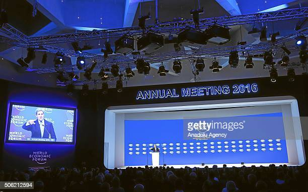Secretary of State John Kerry addresses the assembly at the World Economic Forum annual meeting in Davos on January 22 2016