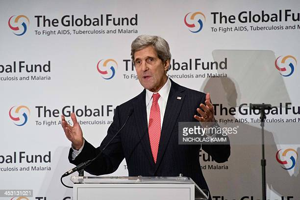 Secretary of State John Kerry addresses the Global Fund to Fight AIDS, Tuberculosis and Malaria in Washington on December 2, 2013. AFP PHOTO/Nicholas...