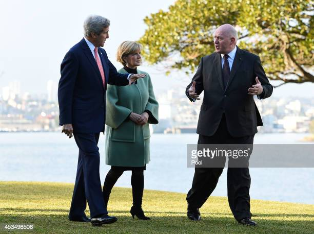 Secretary of State John Kerry along with Australian Foreign Minister Julie Bishop are greeted by GovernorGeneral Sir Peter Cosgrove at Admiralty...