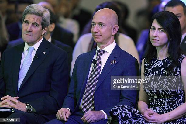 S Secretary of State John Kerry Amazon founder and Washington Post owner Jeff Bezos and his wife MacKenzie Bezos participate in the opening ceremony...