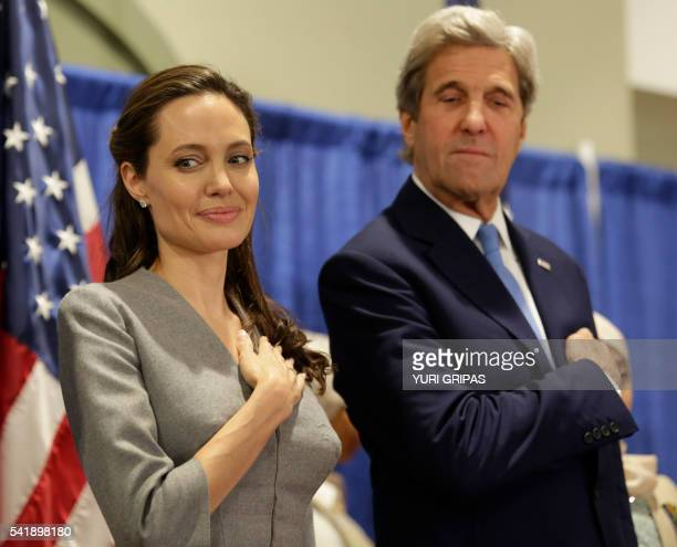 US Secretary of State John Kerry and actress Angelina Jolie United Nations High Commissioner for Refugees special envoy attend an interfaith Iftar...