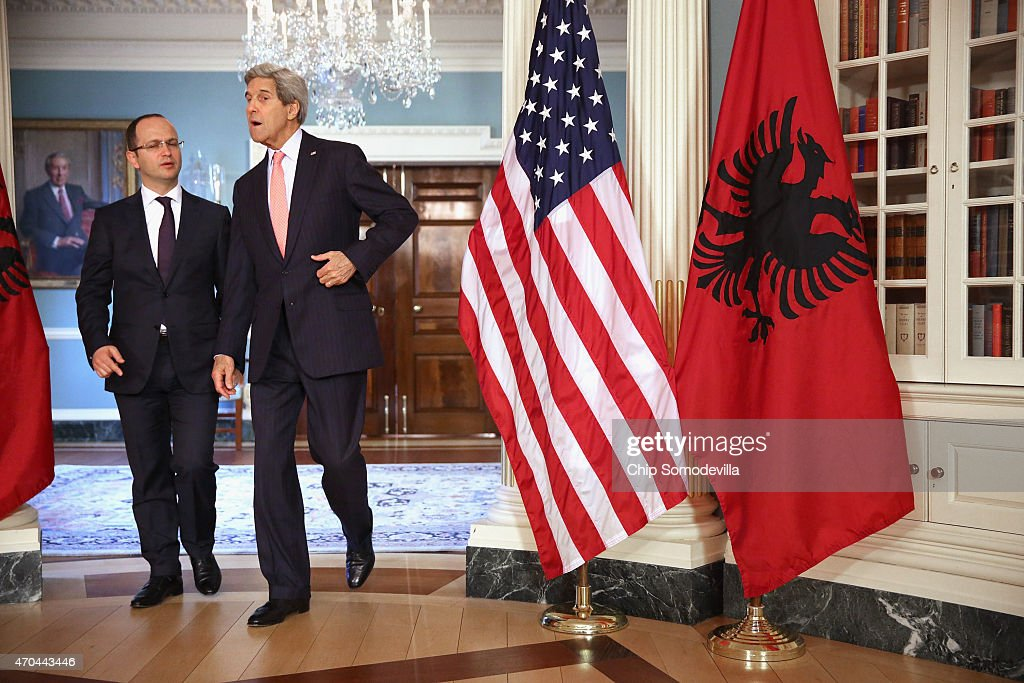 John Kerry Meets With Albanian FM At State Department