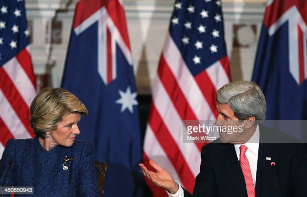 Secretary of State John Kerry , and Australian Foreign Minister Julie Bishop participte in a news conference at the State Department, on November 20,...