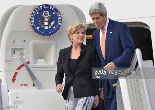 Secretary of State John Kerry and Australian Foreign Minister Julie Bishop arrive at Sydney International Airport on August 11 2014 in Sydney...