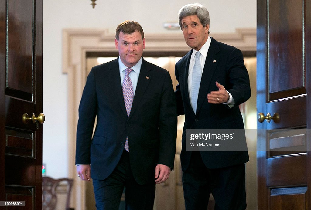 U.S. Secretary of State John Kerry (R) and Canadian Foreign Minister John Baird (L) arrive for a press conference after a bilateral meeting at the State Department February 8, 2013 in Washington, DC. Kerry said that the U.S. government continues to evaluate options to solve problematic relations with both the Syrian and Iranian governments.