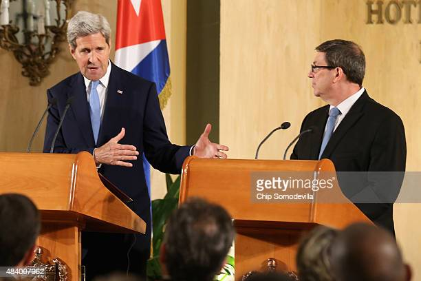 Secretary of State John Kerry and Cuban Minister of Foreign Affairs Bruno Rodriguez Parrilla hold a joint news conference at the Hotel Nacional...