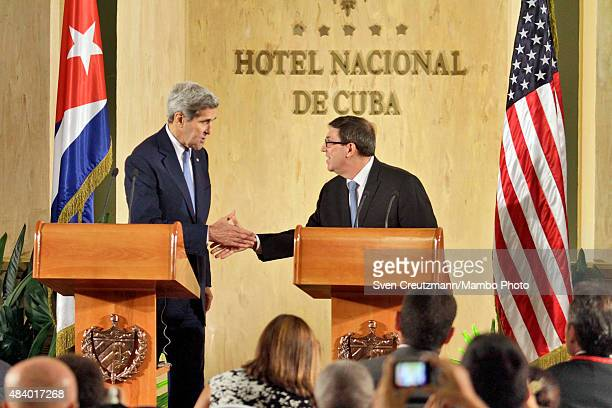 Secretary of State John Kerry and Cuban Minister of Foreign Affairs Bruno Rodriguez Parrilla give a joint press conference in the Hotel Nacional...