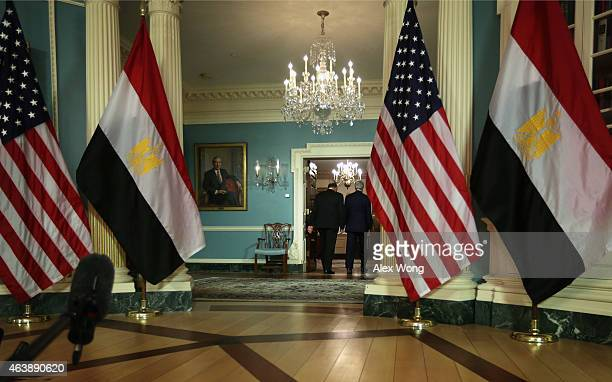 Secretary of State John Kerry and Egyptian Foreign Minister Sameh Shoukry leave after they spoke to members of the media prior to a meeting February...