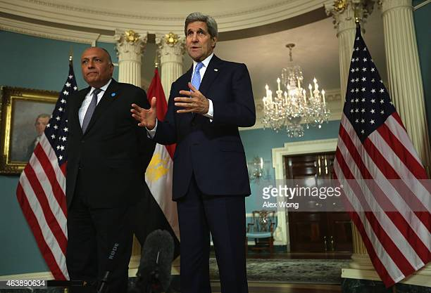 Secretary of State John Kerry and Egyptian Foreign Minister Sameh Shoukry speak to members of the media prior to a meeting February 19, 2015 at the...