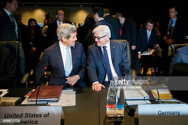 Secretary of State John Kerry and German Foreign Minister FrankWalter Steinmeier attend the 21th OSCE Ministerial Council on December 04 2014 in...