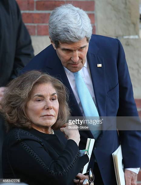 Secretary of State John Kerry and his wife Teresa Heinz Kerry exit Most Precious Blood Church after Mass for Boston mayor Thomas M Menino's funeral