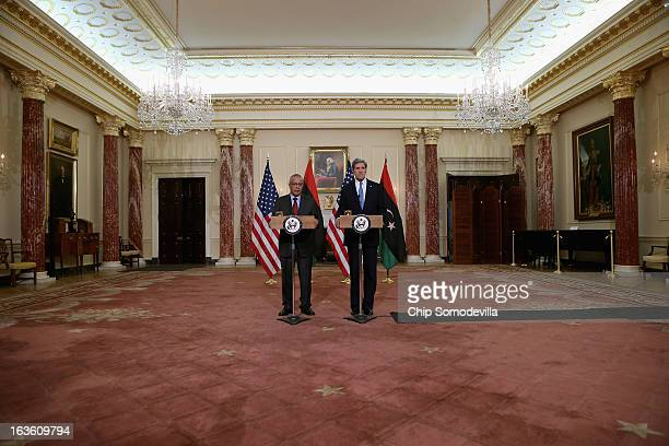 Secretary of State John Kerry and Libyan Prime Minister Ali Zeidan hold a news conference in between bilateral meetings in the Ben Franklin Room at...