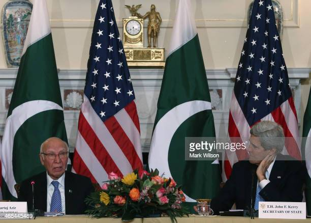S Secretary of State John Kerry and Pakistan's National Security and Foreign Affairs Advisor Sartaj Aziz make remarks during a ministeriallevel...