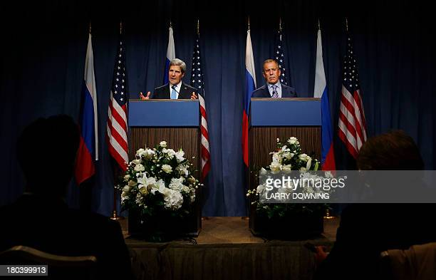 US Secretary of State John Kerry and Russian Foreign minister Sergei Lavrov give a joint press conference in Geneva during their meeting on Syria's...