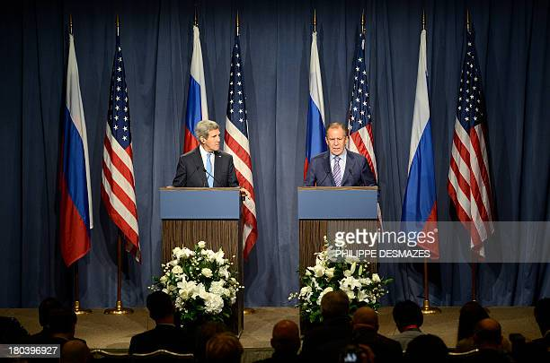 US Secretary of State John Kerry and Russian Foreign minister Sergey Lavrov give a press conference in Geneva following their meeting on Syria's...