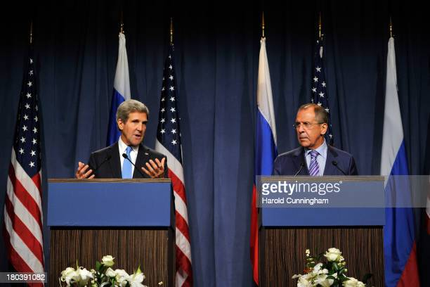 Secretary of State John Kerry and Russian Foreign Minister Sergey Lavrov speak to the press at the Hotel Intercontinental on September 12 2013 in...