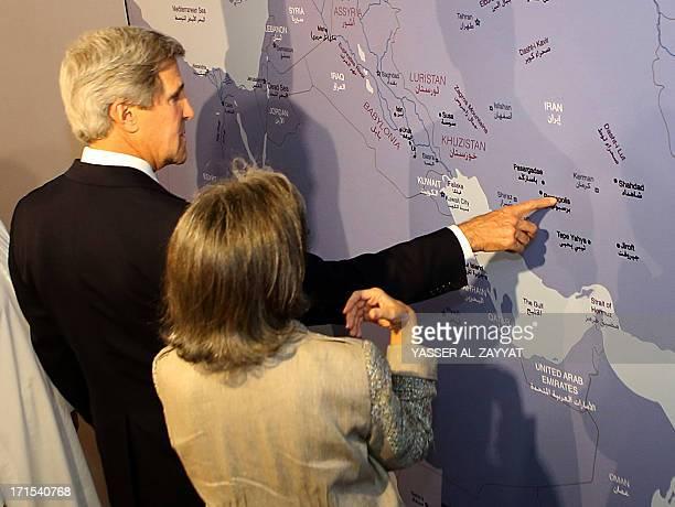 US Secretary of State John Kerry and Sheikha Hussah Sabah al Salem al Sabah the director general of Dar AlAthar AlIslamiyyah a cultural organisation...