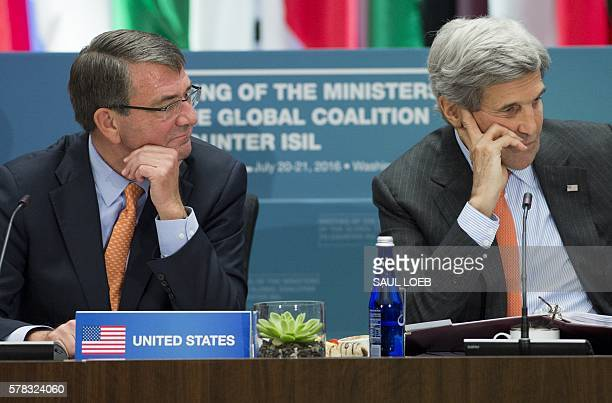 US Secretary of State John Kerry and US Secretary of Defense Ashton Carter host a meeting of the Ministers of the Global Coalition to Counter ISIL at...