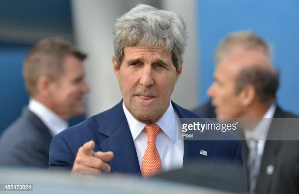 Secretary of State John Kerry arrives at Sydney International Airport on August 11 2014 in Sydney Australia US Sercretary of State John Kerry and US...