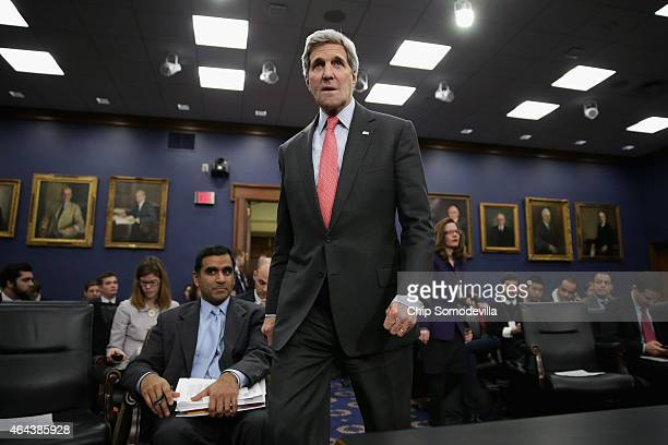 S Secretary of State John Kerry arrives before testifies to the House Appropriations Committee's State Foreign Operations and Related Programs...