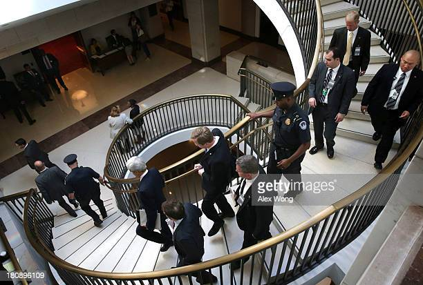 S Secretary of State John Kerry arrives for a closed briefing on Syria before Senate Foreign Relations Committee September 17 2013 on Capitol Hill in...