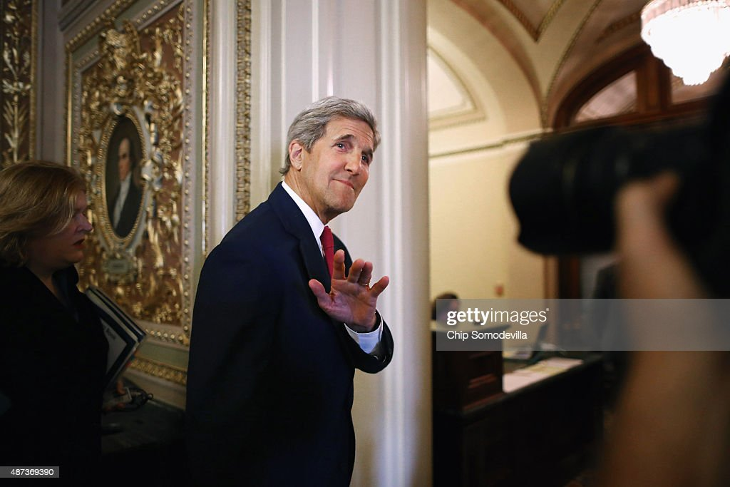 Secretary Of State Kerry Meets With Lawmakers On Capitol Hill Regarding Migrant Crisis : News Photo