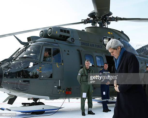 US Secretary of State John Kerry arrives in Davos on January 23 to attend the World Economic Forum annual meeting in the Swiss Alps Some 40 world...