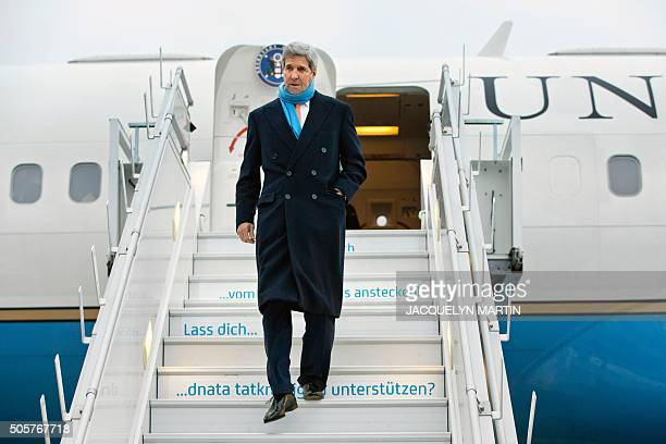 US Secretary of State John Kerry arrives in Zurich on January 20 where he is expected to meet Russian Foreign Minister Sergey Lavrov about Syria and...