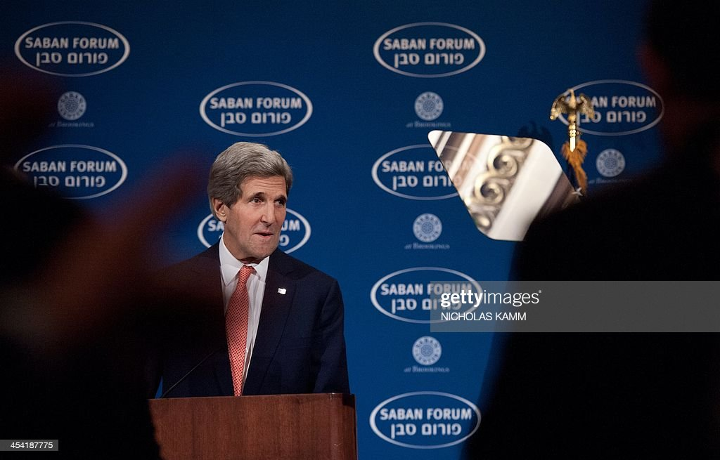 US Secretary of State John Kerry arrives to deliver the keynote address at the 10th Anniversary Saban Forum, Power Shifts: US-Israel Relations in a Dynamic Middle East, in Washington on December 7, 2013. AFP PHOTO/Nicholas KAMM