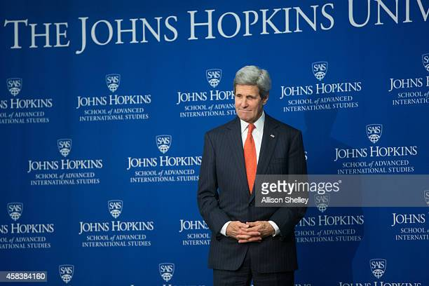 S Secretary of State John Kerry arrives to discuss current relations between the US and China at the Johns Hopkins School of Advanced International...