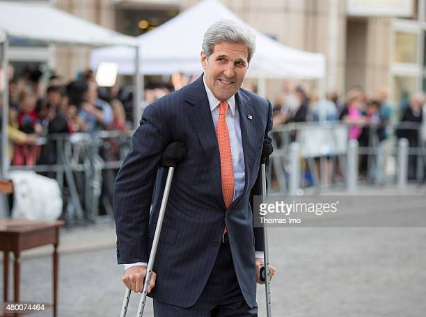 Secretary of State John Kerry arrives to speak to the press during the nuclear talks between the E33 and Iran on July 09 2015 in Vienna Austria...