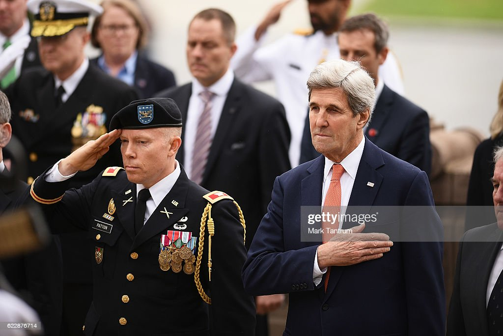 U.S. Secretary Of State John Kerry at the Tomb of the Unknown Warrior at Pukeahu National War Memorial Park on November 13, 2016 in Wellington, New Zealand. The U.S. Secretary of State is on a two-day visit to New Zealand.