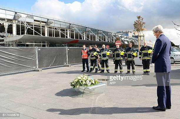 Secretary of State John Kerry attends a ceremony at the Brussels National Airport to pay tribute to the victims of the terrorist attacks on March 25,...